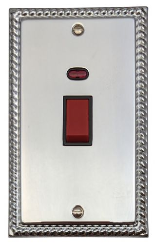 G&H MC28B Monarch Roped Polished Chrome 45 Amp DP Cooker Switch & Neon Vertical Plate